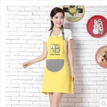 Season cotton apron Korean fashion kitchen cooking restaurant anti-oil lady cute simple home work clothes