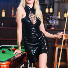 Buy Sexy Lingerie Latex Women Hot Erotic Lingerie Pole Dancing Dress Fancy Sexy Costumes Black Teddy Club Party Wear Chest Hollow