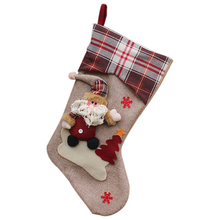 Practical Boutique New Year Christmas Stockings Socks Plaid Candy Gift Bag Xmas Tree Hanging Ornament Decoration(China)