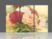 New arrival Free Shipping Modern Wall Painting Peony Home Decorative Art Picture Paint on Canvas Framed art 3 pcs/set T/534