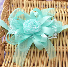 12pces/lot tiffany blue bride and bridesmaid wrist flowers sister hand flower corsages bouquets lace ribbon flowers for wedding
