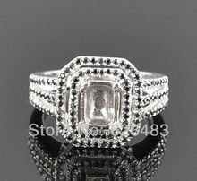 Emerald cut 6x8mm 100% 14K Solid W/Gold 0.65ct , Semi-Mount Ring,Free Shipping