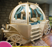 Happy Baby Custom Solid Wood Boys And Girls Bed Theme Hotel Features American Carriage Bed Children's Furniture(China)
