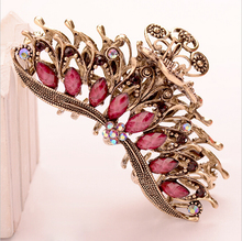 Vintage Antique Bronze Plated Resin Flower Hair Jewelry Big Hair Claw Crystal Hair Clip for women