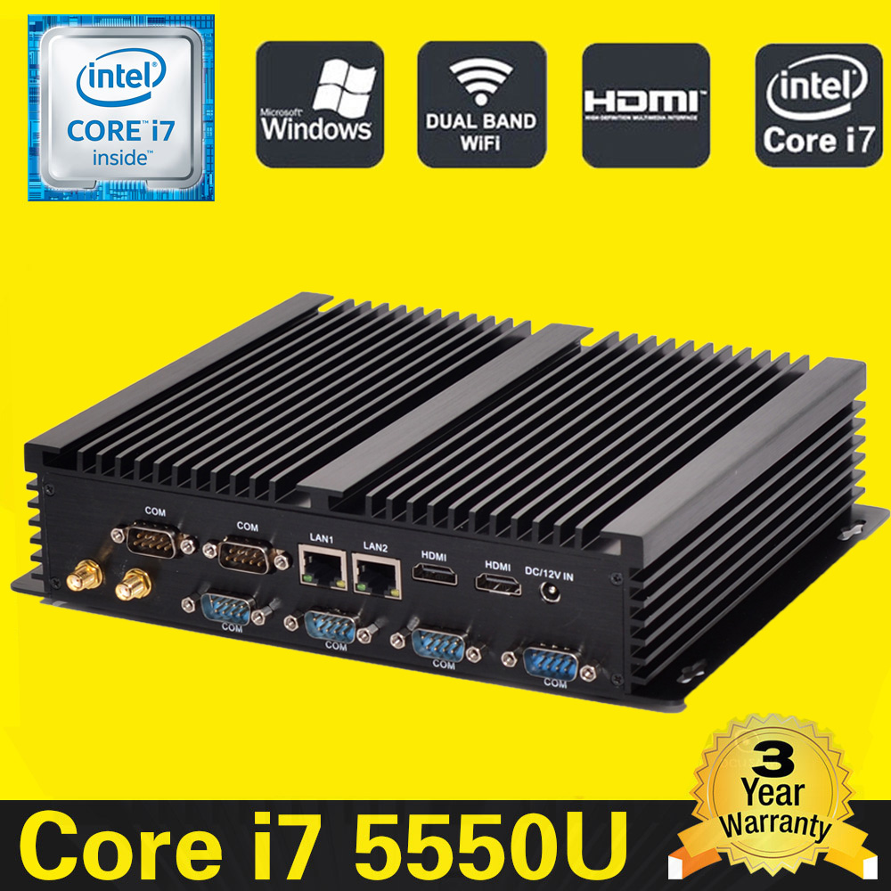 HYSTOU Mini itx pc Barebone Core i7 5550U Compact PC RS232 USB 3. Mini desktop computer Windows 7 Core I5 4200U Mini PC computer(China)
