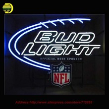 Bud Light NFL Neon Sign Neon Bulb Glass Tube Handcrafted Sport Neon Lamp Eye Catch Glass Indoor Lights Indoor Advertise  30x24