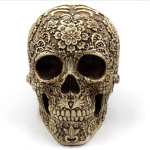horrible skull head ornaments engrave flower skeleton halloween spoof props vintage home decors halloween gifts