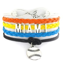 (24 Pieces/lot) Handcraft Infinity Love MIAMI Sport Team Rugby Charms Bracelet(China)