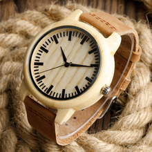 Fashion Light Hand-made Wooden Watches Made of Bamboo Wristwatch with Leather Band for Men Women relojes de madera(China)