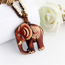 LNRRABC Fashion Women Boho Ethnic Carving Beach Jewelry Handmade Beads Wood Elephant Pedant Necklace Sweater Chain Necklace(China)