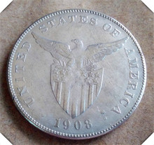 1908 Philippines 1 Peso U.S. Administration Copy Coin(China)