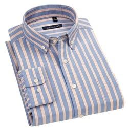 Мужская рубашка из натурального хлопка, в полоску