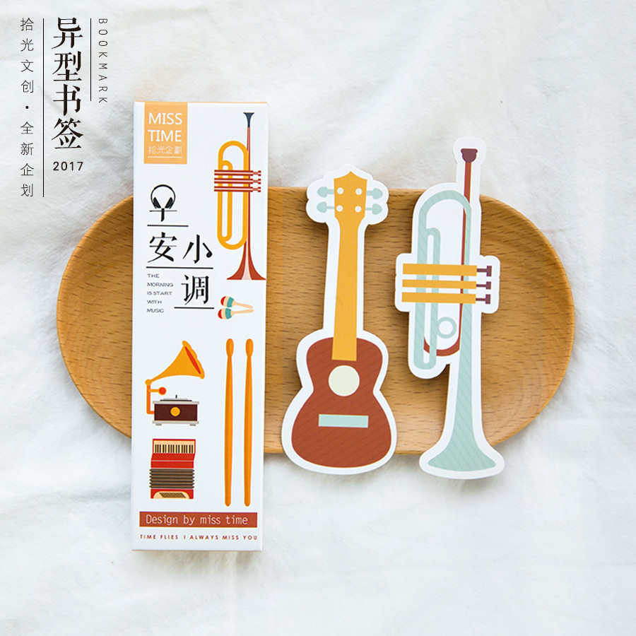 30 Pieces Musical Instrument Paper Bookmark Card DIY Postcard Book Marks Message Cards Cute Stationery Office School Supplies(China (Mainland))