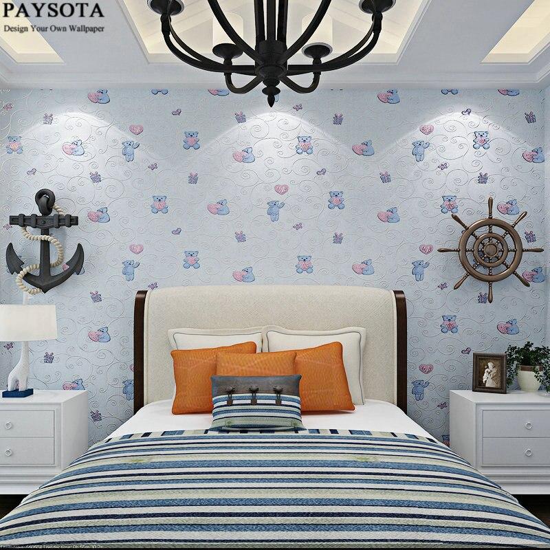 PAYSOTA 3D Wallpaper Cute Cartoon Bear Children Room Bedroom Blue Pink Yellow Green Non-woven Wall Paper<br>