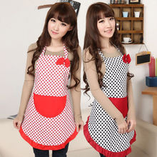 Women Cute Apron Polka Dot Bowknot Kitchen Restaurant Bib Cooking Dress Aprons With Pocket Vintage Gift