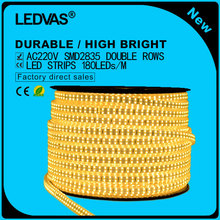 LEDVAS 220V IP67 Waterproof Led strip with EU Power Plug 2835 SMD 180Leds Per Meter White, Warm White outdoor indoor decoration