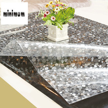 Stone pattern PVC tablecloth waterproof Anti-hot Plastic soft glass Table mats Coffee mat round Crystal plate 1.5mm thickness