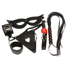 Buy Bondage Sexy Couples PU Leather Whip Mouth Ball Plug Goggles Handcuffs Accessories Kit Nightwear Erotic Lingerie