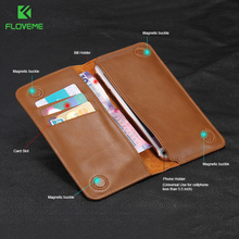 FLOVEME 5.5'' Classic Flip Wallet Genuine Leather Pouch For iPhone 7 Plus 6S 5s 4S For Huawei P6 Mate 9 7 S8 Redmi3 Phone Case