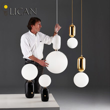 LICAN Creative Nordic Parachilna ABALLS Led Pendant Light Plate Metal Milky Frosted Glass Shades Suspension Lamp For Dining Room
