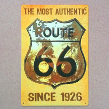 "xsy0564 New 2015 ""route 66 road for USA and car "" vintage metal tin signs painting home decor wall art craft bar  20X30cm"