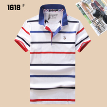 High Quality 2017 Summer Men Horse Brand Polo Shirt Polos Men Short Sleeve Embroidery Striped Causal Shirt Classical Style 1618