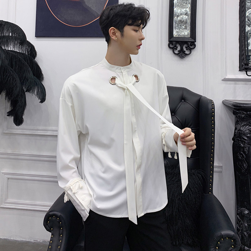 2019 Spring New Men Tie Collar Long Sleeve Casual Shirt Japan Harajuku Male Punk Gothic Dress Shirts Party Clothes