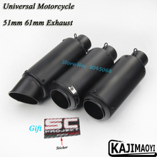 Universal 51mm 61mm Motorcycle Exhaust Pipe Escape Motorbike Muffler With Sticker For Suzuki GSXR600 S1000RR Ninja250 R6 CBR1000(China)