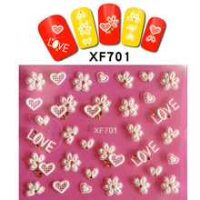 Fashion Flower Bow Tie Heart 3d Nail Art Stickers Decals 1PC New Arrival Korean Design Ornament for Nail XF699-722