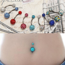 LNRRABC Sale 1Pc Women Fashion Rhinestone Crystal Ball Barbell Navel Ring Belly Button Piercing Body Jewelry 10 Colors