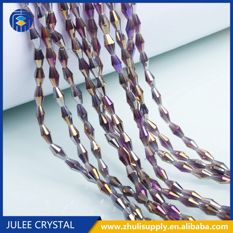 JuleeCrystal 4*8mm Long Bicone Faceted Austrian Crystal Beads Top quality long glass bead for handmade Jewelry