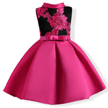 2017 autumn Girls Elegant Prom Dress Baby Embroidery Rose Princess Dresses Children Sleeveless Mesh Party Wedding Gown Carnival(China)