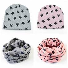 Spring Cotton Baby Hat Unisex Star Knitted Crochet Cap Scarf Toddler Boys Girls O Ring Neckerchief Scarves Beanies(China)