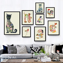 no frame pastoral clear animal cat draw scenery canvas printings oil painting printed on canvas wall art decoration picture(China)