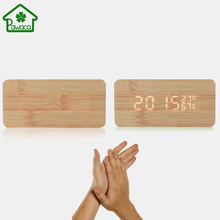 Wood Bamboo LED Time Humidity Display Digital Alarm Clock Sound Voice Control Electronic Desk Clock Table Clock Home Decor New