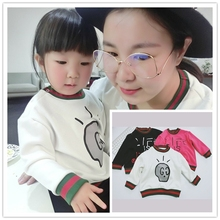 ins* 2017 baby boys girls spring autumn cotton velvet sweatshirts letter printed kids  cashmere top clothes family suit 1-4Y