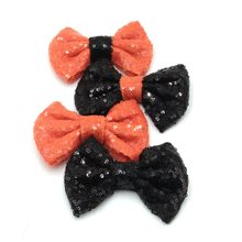 12pcs/lot 4'' Sequins Bow (NO CLIPS) Halloween Festival Hair Bow for Headband Black/Orange DIY Hair Accessory, New Arrivals