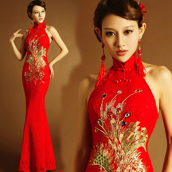 chinese traditional dress red long mermaid qipao lace style wedding cheongsam dress modern phoenix elegant plus size embroidery