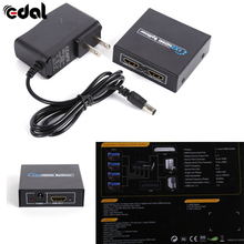 EDAL 1x2 1 in 2 Out Port HDMI Splitter Amplifier Repeater 3D 1080p Switch Box Hub(China)
