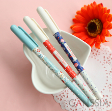 1PC/lot Cute flowers printed ballpoint pens for kids stationery Blue ink writing pen Caneta escolar School supplies(ss-a938)(China)