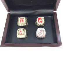 Replica NCAA Alabama 1992/2009/2011/2012 CrimsonTide National Championship Ring Set  4 PCS with Wooden Box
