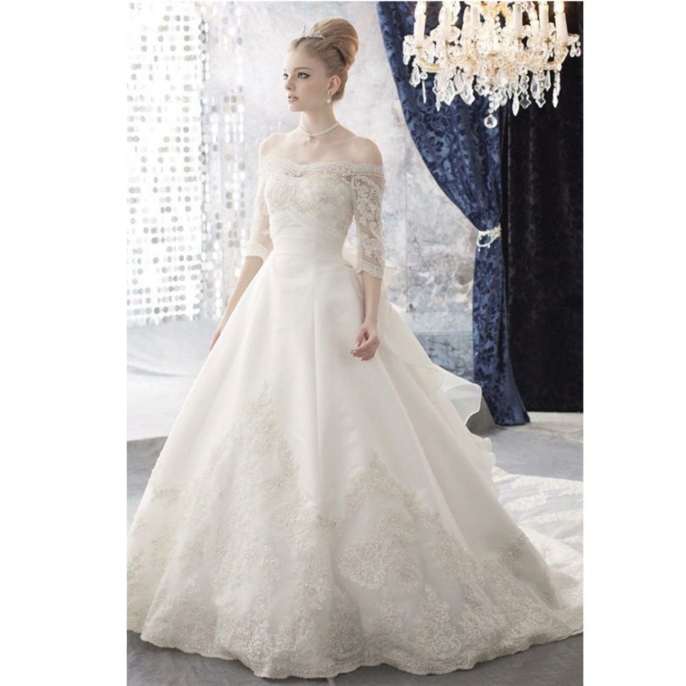 Online Buy Wholesale off shoulder with sleeve a line lace wedding ...