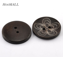 "Hoomall Decorative Buttons 30PCs Dark Coffee Flower Pattern 2 Holes Round Wood Sewing Buttons 30mm(1 1/8"") Sewing Accessories"
