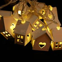 Romantic Wedding Party Decor String Lights with 10 Wood House Shape Bulbs