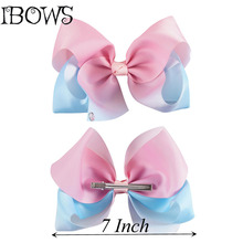 1PC Pink Color Extra Large 7Inch Boutique Grosgrain Knot Hair Bows Hairclips French Barrettes For Teens Girls(China)