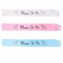 1 pcs Mum To Be Sash Baby Shower Boy Girl Party Decoration Centerpieces Pink Blue White