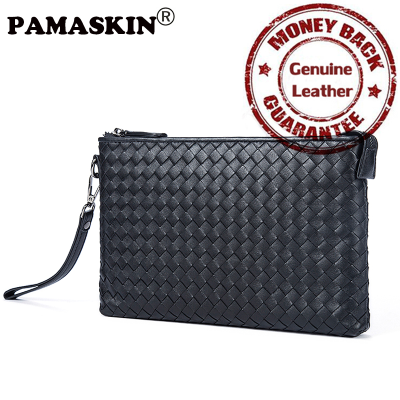 PAMASKIN Brand Knitting Style Business Handbags Cow Leather Plaid Men Day Clutches 2017 Hot Sale Practical Men Wallet Hand Rope<br>