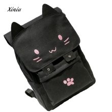 Ladies Cat Pattern Shoulder Bag Womens Shoulder Bags Leather Computer Bag School Girls Backpack Female Cute Cat Bag(China)