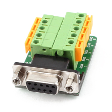 High Quality DB9 RS232 Serial Female Adapter Plate to 9 Position Terminal Connector Black+Green+Yellow