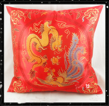 Cheap Dragon Red Cushion Cover for Sofa Chair Car Chinese style Zipper Silk Pillow Case 6piece/pack Free shipping